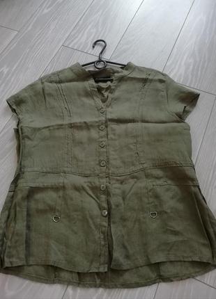 Натуральная льняная рубашка большого размера