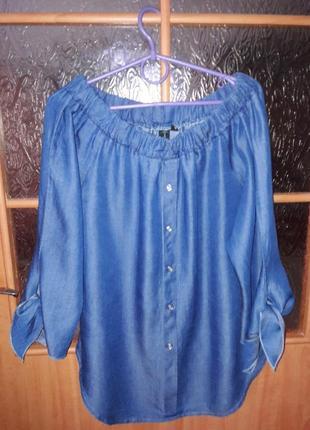 Удлиненная джинсовая блузка туника