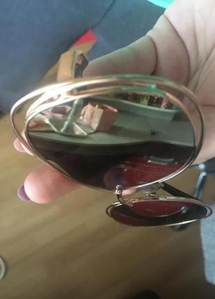 Очки солнцезащитные зеркальные золотистые3 фото