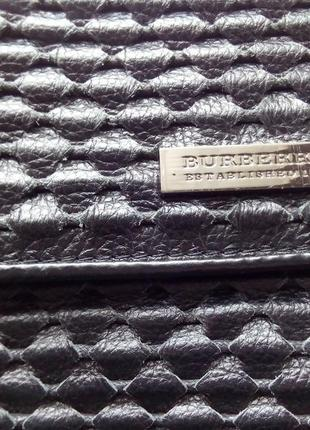 Кожаная черная сумка кросс боди, клатч, burberry3 фото