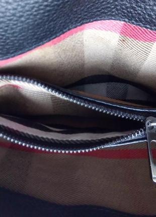 Кожаная черная сумка кросс боди, клатч, burberry5 фото
