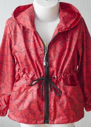 Оригинальная лёгкая куртка ветровка с капюшоном на замочке в звёздочки