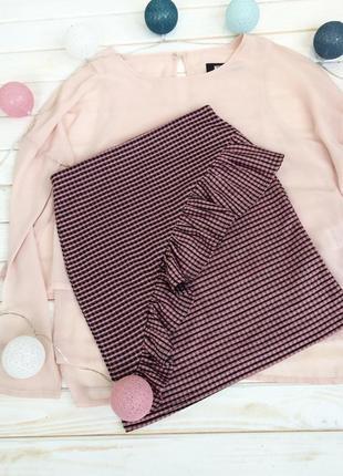 Милая клетчатая юбка с рюшей new look