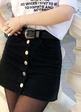 Чёрная юбка трапеция джинсовая а-силуэта2 фото
