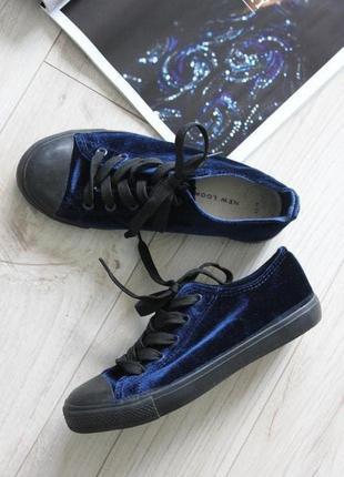 Красивые низкие кеды бархатные черные синие 37