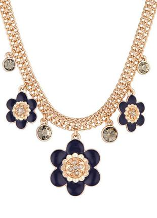 """Шикарное нарядное ожерелье """"цветы"""" эмаль, позолота  и кристаллы дания pilgrim"""