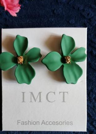 Серьги цветочки цветочек сережки зеленые