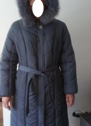 Женское теплое пальто с капюшоном baccara/56 размер указан.для высокой леди !!!!!