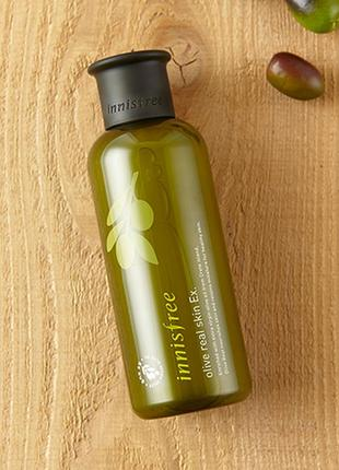 Глубокоувлажняющий тонер с маслом оливы innisfree real skin ex.