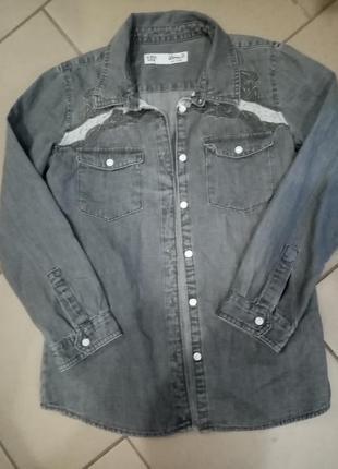 Джинсовая рубашка на девочку 9-10лет рост 140