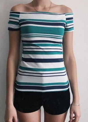 Полосатая футболка на спущенных плечах от dorothy perkins
