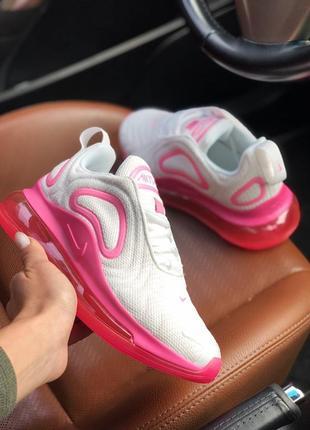 Шикарные женские кроссовки air max 720 white pink2 фото