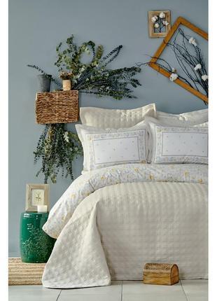 Набор постельное белье с покрывалом karaca home - heras бежевый евро комплект
