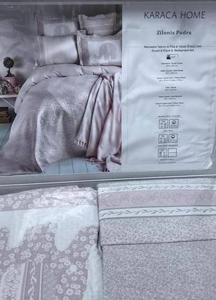 Набор постельное белье с покрывалом + плед karaca home пудра евро комплект слоник2 фото
