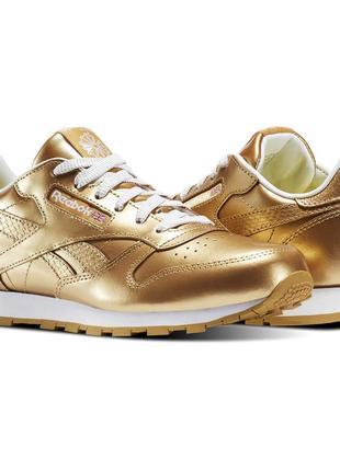 Кожаные золотистые кроссовки reebok