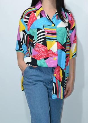 Рубашка удлиненная пляжная яркий принт  оверсайз zara.5 фото