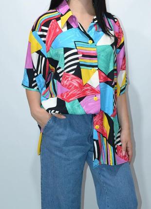 Рубашка удлиненная пляжная яркий принт  оверсайз zara.