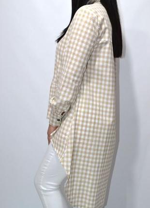 Удлиненная рубашка туника оверсайз zara.4 фото