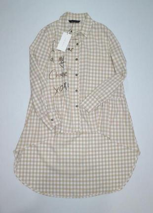 Удлиненная рубашка туника оверсайз zara.2 фото