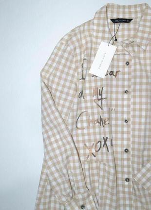 Удлиненная рубашка туника оверсайз zara.5 фото