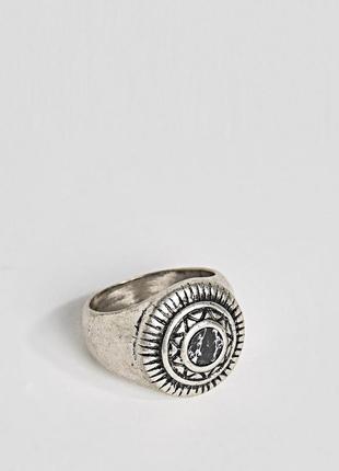 1+1=3 до 15/07 кольцо-печатка с искусственным черным камнем asos design