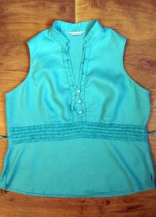 Блузка 100% лен бирюзового цвета от marks spenser серия autograph