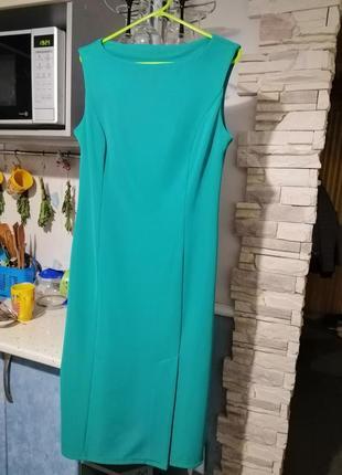 d620d276d1c7128 Женское бирюзовое нарядное вечернее коктейльное миди платье средней длины