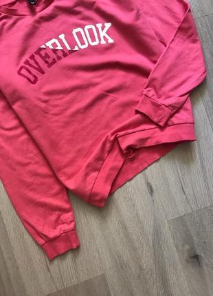 Світшот кофта рожева з принтом написом / свитшот реглан лонгслив з надписью2 фото