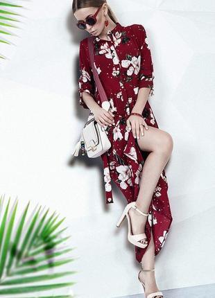 Платье макси бордо цветочный принт