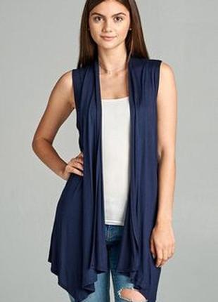 Брендовая темно-синяя накидка кардиган с карманами f&f вьетнам этикетка