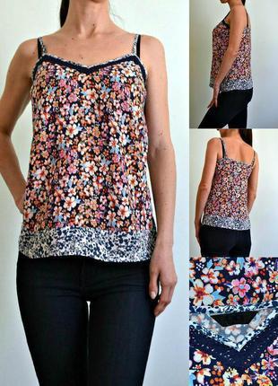 Базовая легкая блуза на тонких бретелях - вискоза