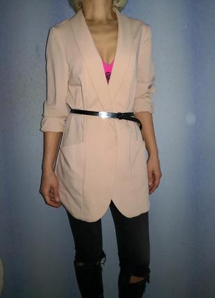 Пудровый нюдовый летний пиджак ровного кроя длинный new look