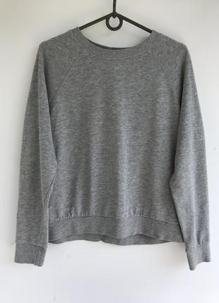 Стильный базовый серый трикотажный свитшот h&m