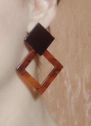 Серьги сережки акрил геометрия ромб тигровый принт4 фото