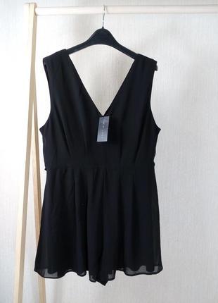 Черный летний комбинезон, ромпер, юбка-шорты