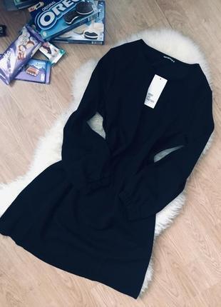 Чёрное платье свободного кроя три четверти рукав