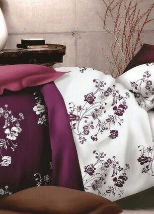 Постельное белье евро размера из бязи оптом марсал с цветами