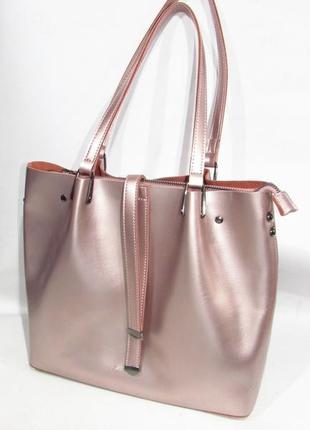 64de86b03a74 Сумка женская кожаная розовая с отливом красивая натуральная кожа стильная  италия шоппер
