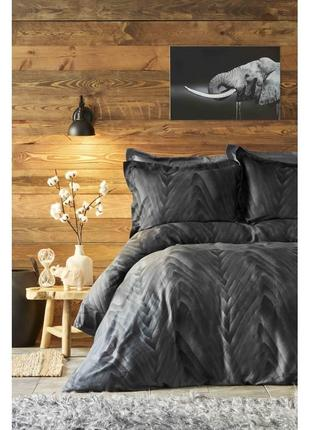 Постельное белье karaca home сатин - afya черный евро