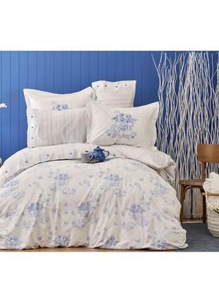 Постельное белье karaca home перкаль - brisa голубой евро