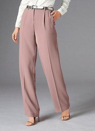 Нежно-розовые пудровые классические дизайнерские прямые брюки большого размера италия