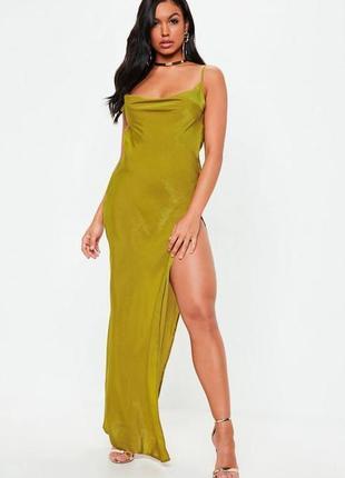 Сатиновое платье с разрезом
