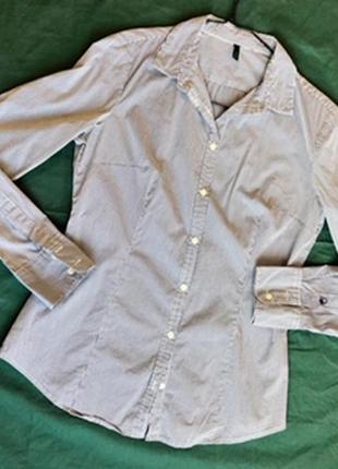 Классическая рубашка в мелкую полоску benetton