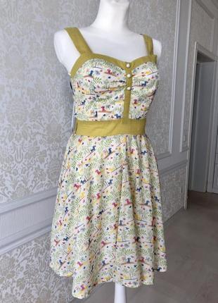 Платье/ сарафан/лето/пляж/ цветочки/бело-зеленый хлопок/оригинальный фасон/s