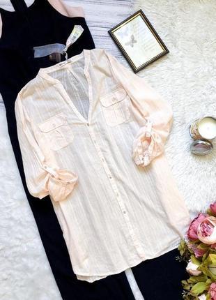 Трендовая летняя натуральная  рубашка цвета пудры размер 14-16 (44-46)новая с биркой!