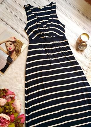 Стильное натуральное вискозное платье в полоску на запах размер 10-12 (42-44)2 фото