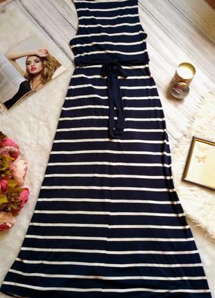 Стильное натуральное вискозное платье в полоску на запах размер 10-12 (42-44)4 фото