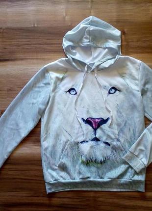 """Возможен обмен ! кофта """"3d лев"""" с капюшоном и сплошным карманом 3д ( s - м )"""