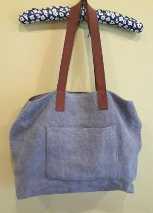Натуральная сумка-шоппер джутовая с кожаными ручками