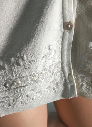 Нарядная кофта кардиган белая с вышивкой бисером большой размер wallis4 фото